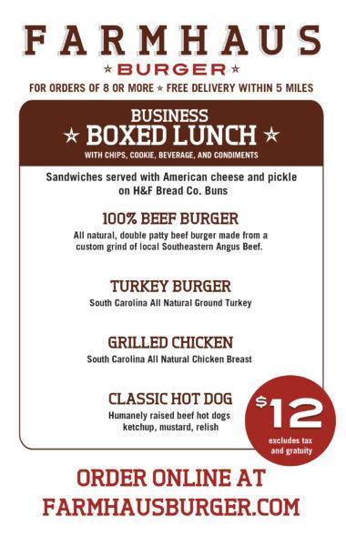 Farmhause Burger Boxed Lunch Menu
